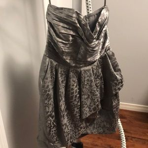 H&M grey sweetheart neckline dress